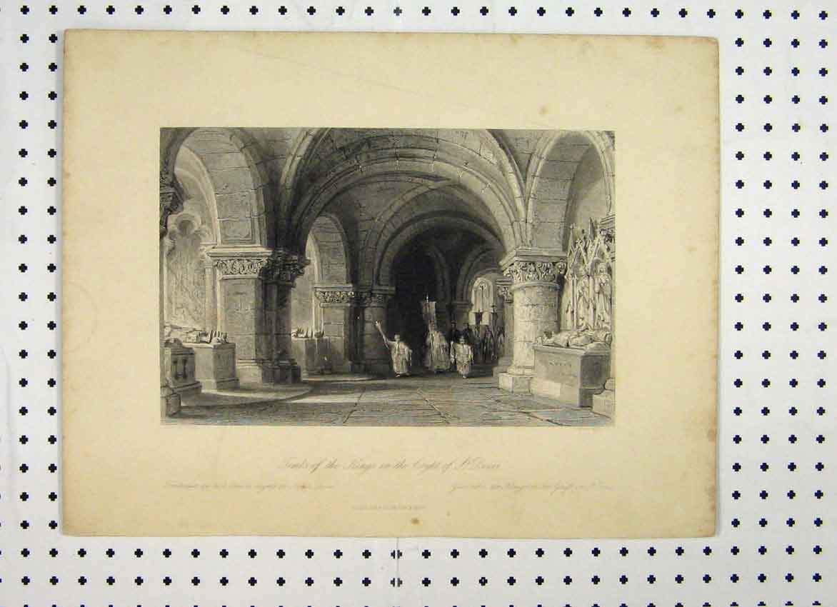 Print C1865 Tombs Kings Crypts Denis Allen 114A115 Old Original
