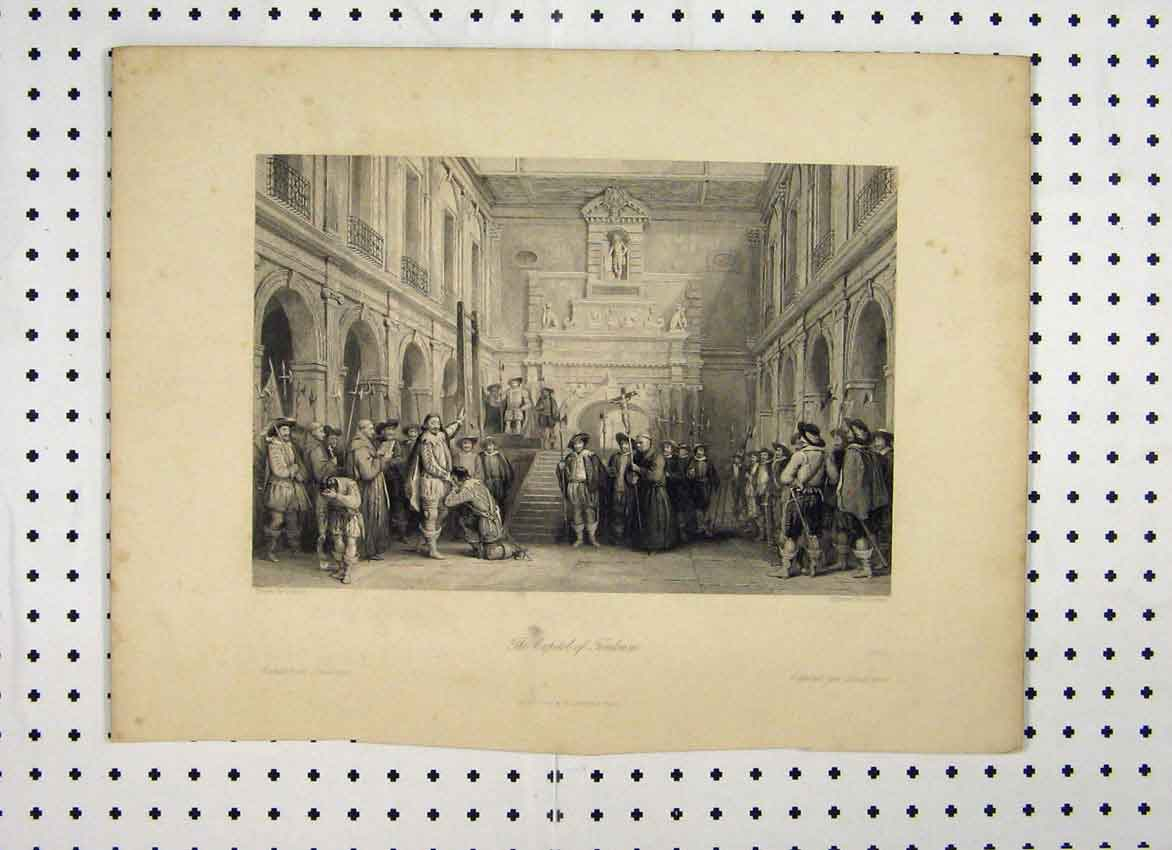 Print C1865 Scene Capitol Toulouse Men Sword Interior Church 116A115 Old Original