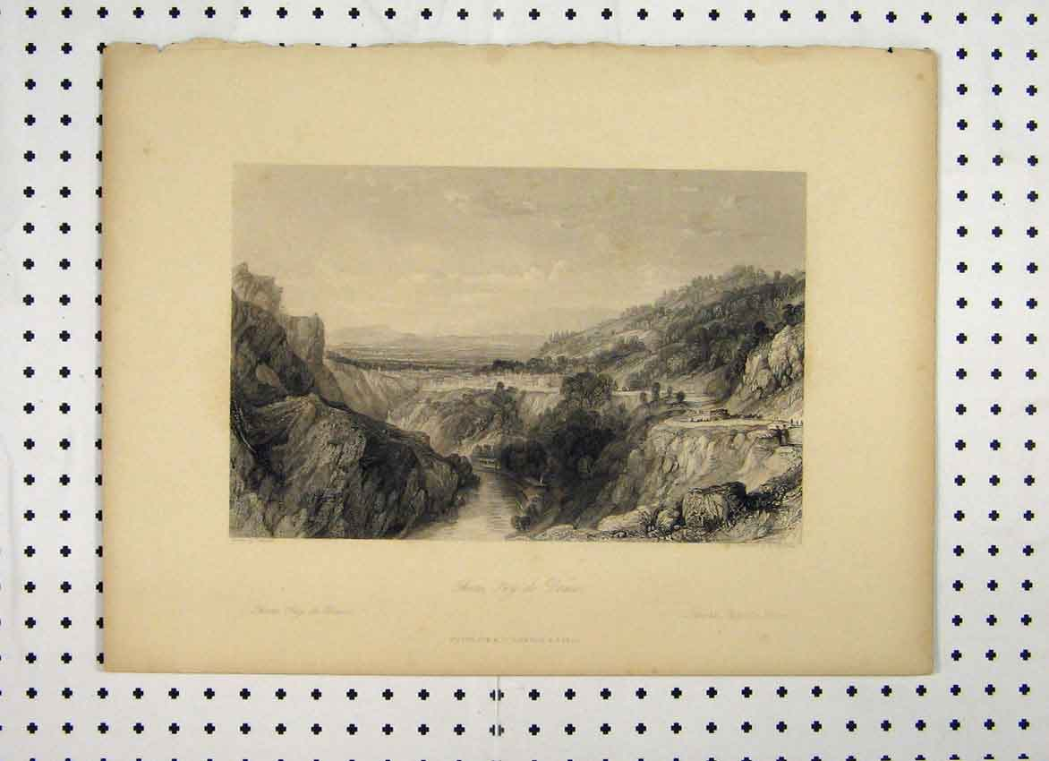 Print Thiers Dome C1865 River Mountain Scene Bentley 120A115 Old Original