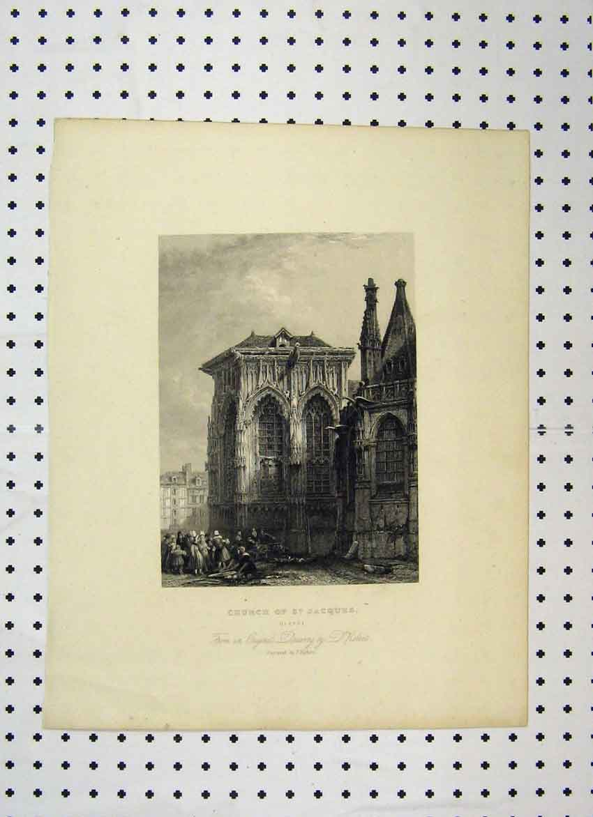 Print View Church St Jacques Dieppe C1865 France 123A115 Old Original