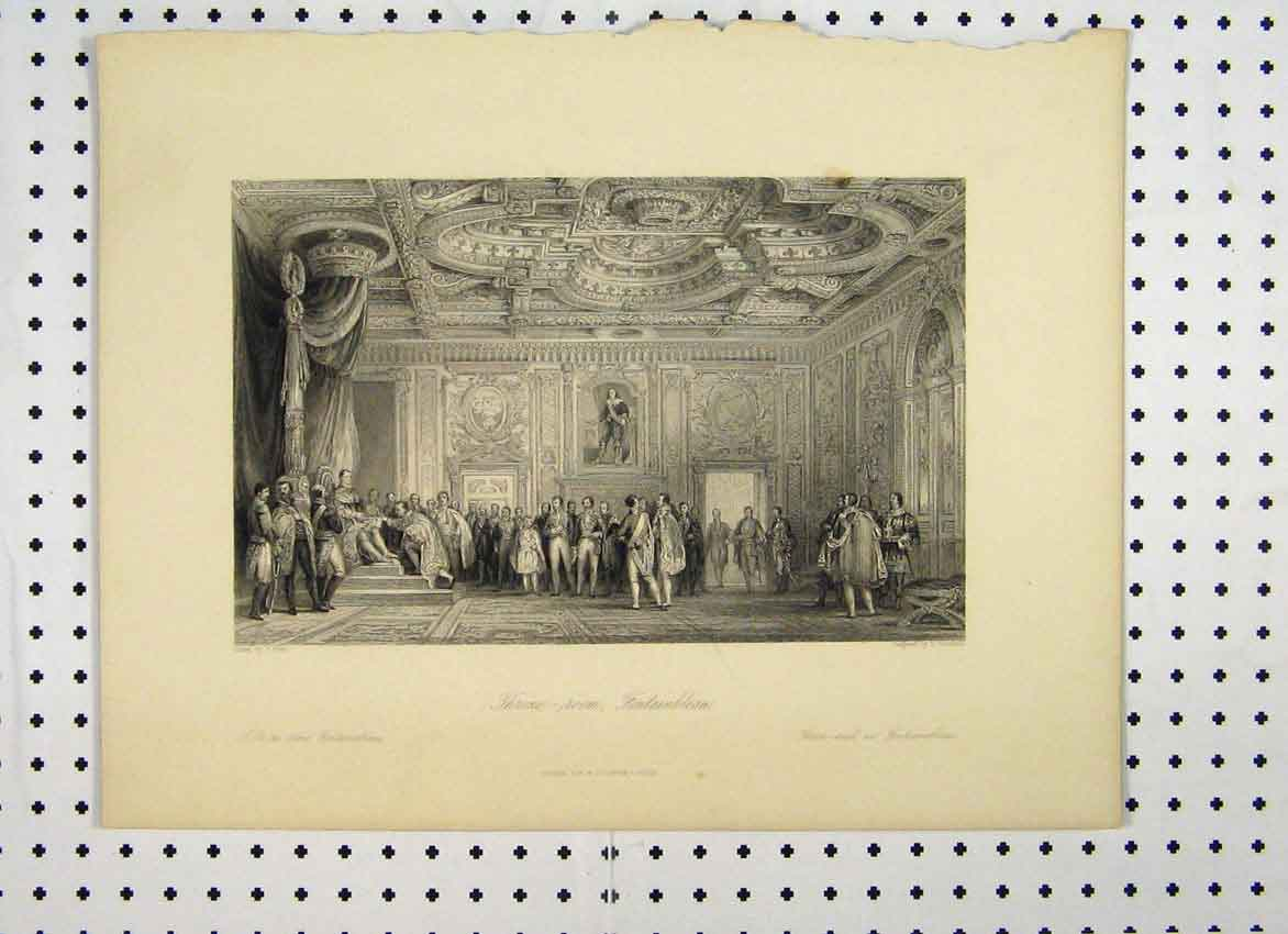 Print View Throne Room Fontainbleau People King C1865 124A115 Old Original
