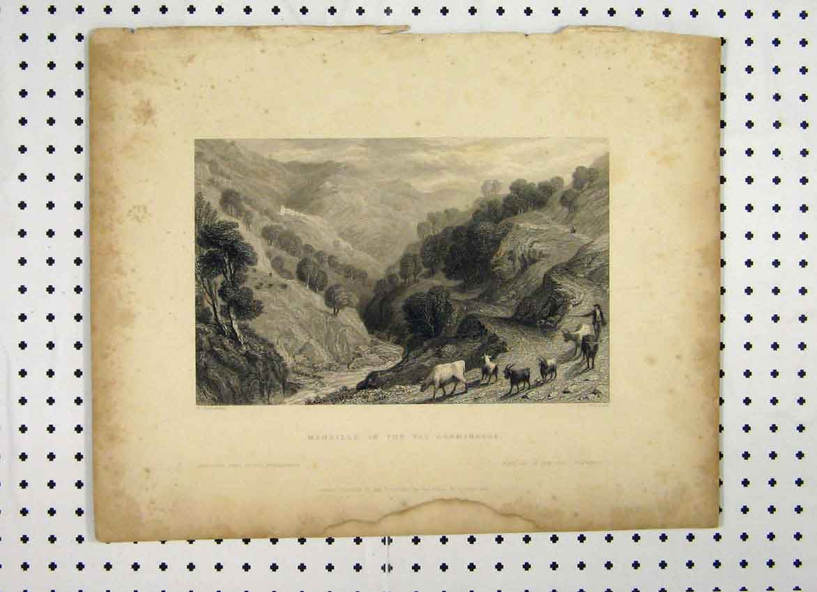 Print Maneille Val Germanasca C1865 Cattle Mountain Scene 125A115 Old Original