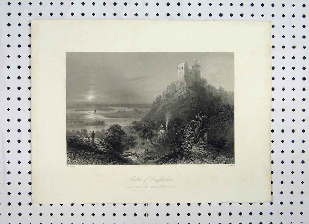 Print Castle Greiffenstein C1865 Country Mountain Scene 129A115 Old Original