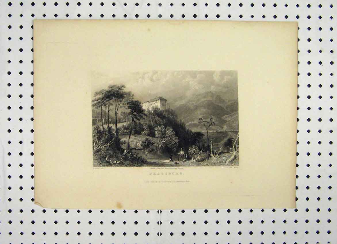 Print Fragsburg C1865 Country Mountain Scene 131A115 Old Original