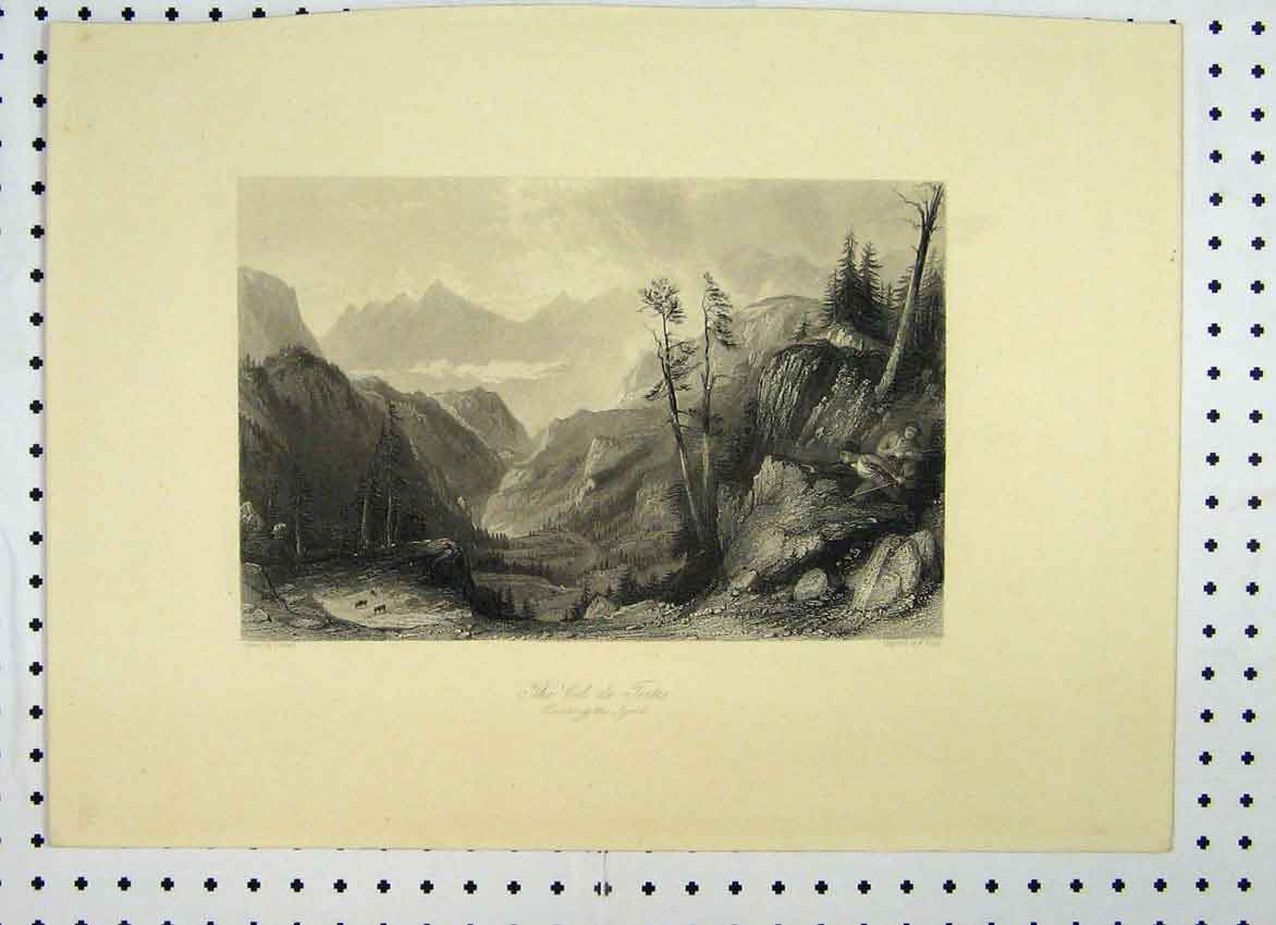 Print View Col De Fortes C1865 Men Hunting Mountain Scene 144A115 Old Original