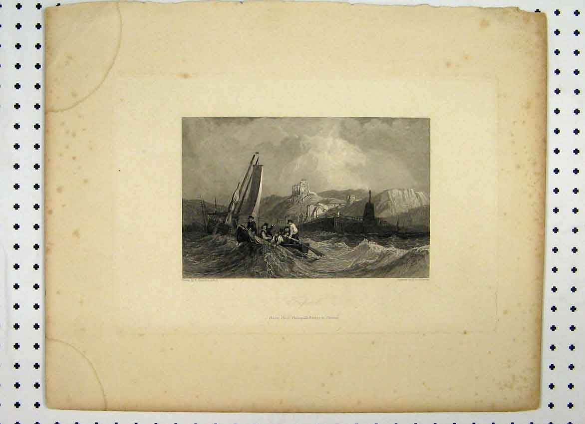 Print Triport C1865 Stormy Sea Castle Cliff Boat 152A115 Old Original