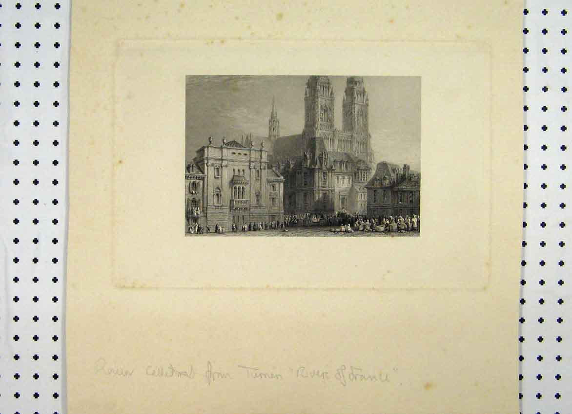 Print View Rouen Cathedral France C1865 Market 158A115 Old Original