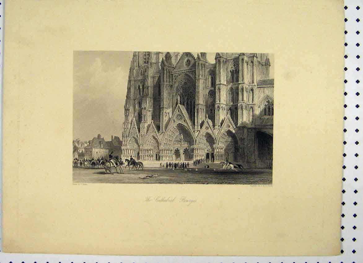 Print View Cathedral Bourges C1865 Horses People 160A115 Old Original