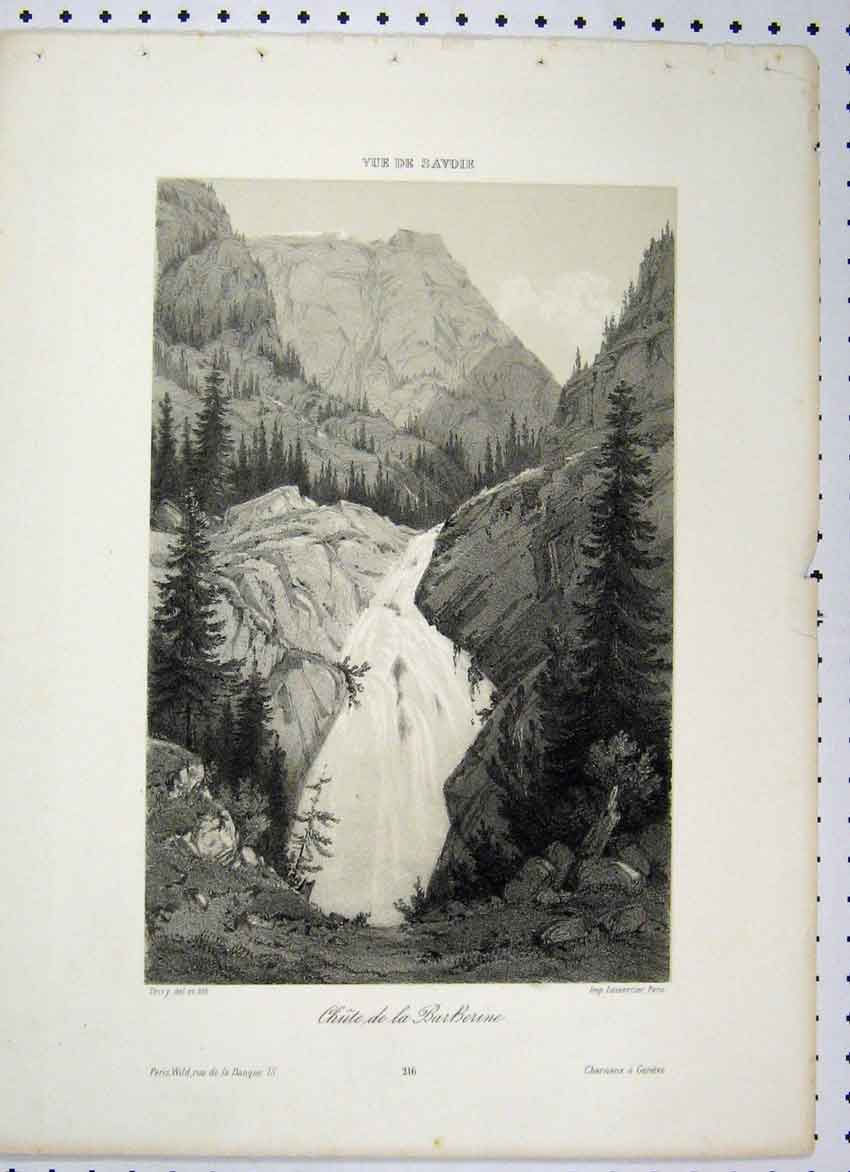 Print Paris C1865 Waterfall Mountain Scene Tress 163A115 Old Original