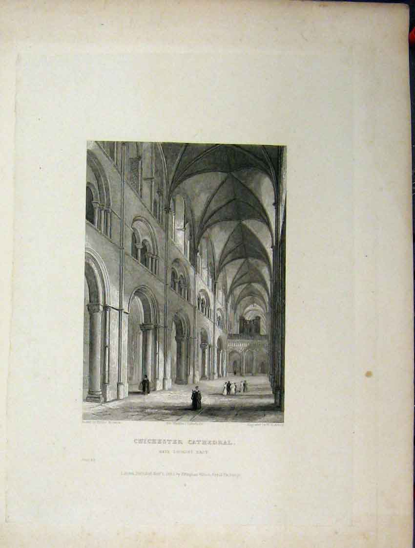 Print C1837 Chichester Cathedral Four Pages Nave Aisle Plan 102Aa116 Old Original