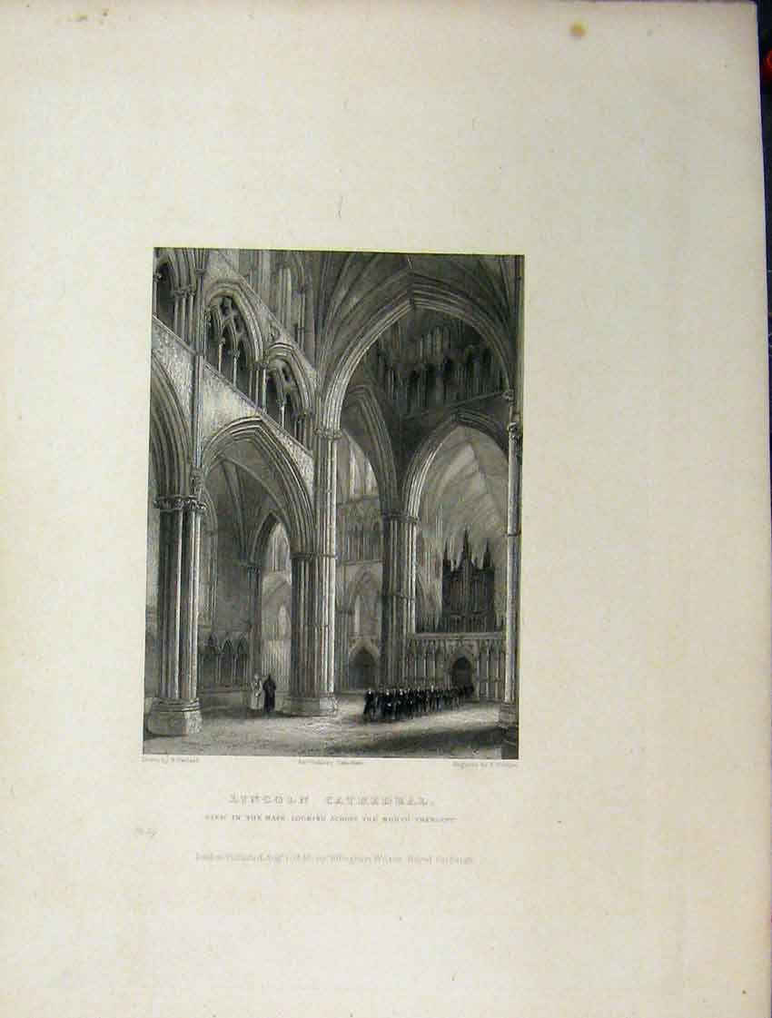 Print Five Pages Lincoln Cathedral C1837 Nave Choir Plan 104Aa116 Old Original