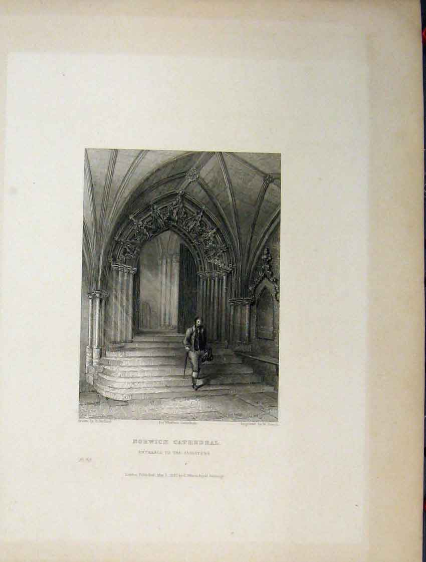 Print Norwich Cathedral Four Pages Nave C1837 Choir Cloister 105Aa116 Old Original