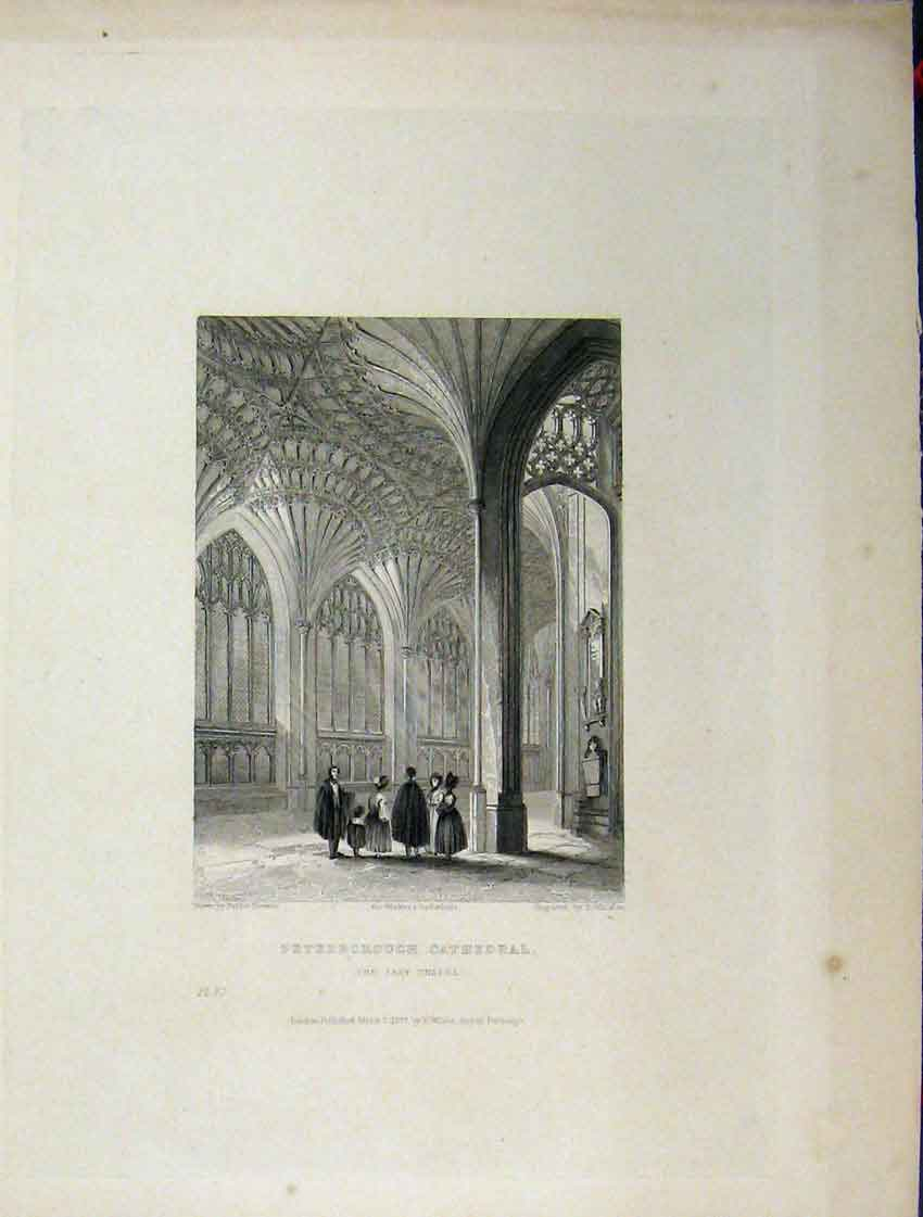 Print Four Pages Peterborough Cathedral Porch Lady Chapel 106Aa116 Old Original