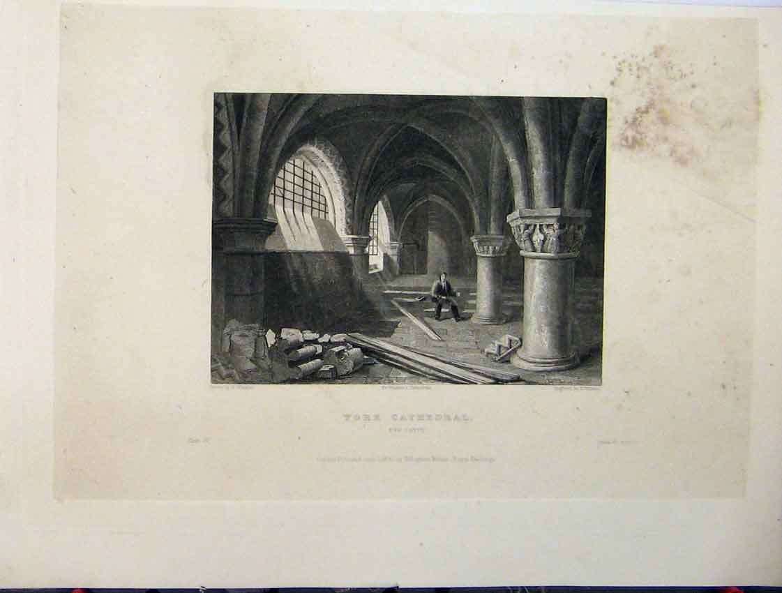 Print C1837 Oxford Cathedral Aisle Choir Three Pages Plan 108Aa116 Old Original