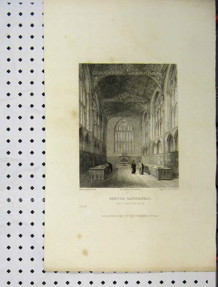 Print C1837 Exeter Cathedral Chapter Room Winkles Engraving 110A116 Old Original
