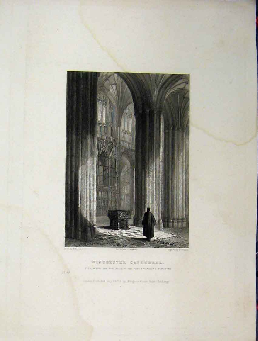 Print C1837 Winchester Cathedral Wykehams Monument Winkles 111A116 Old Original