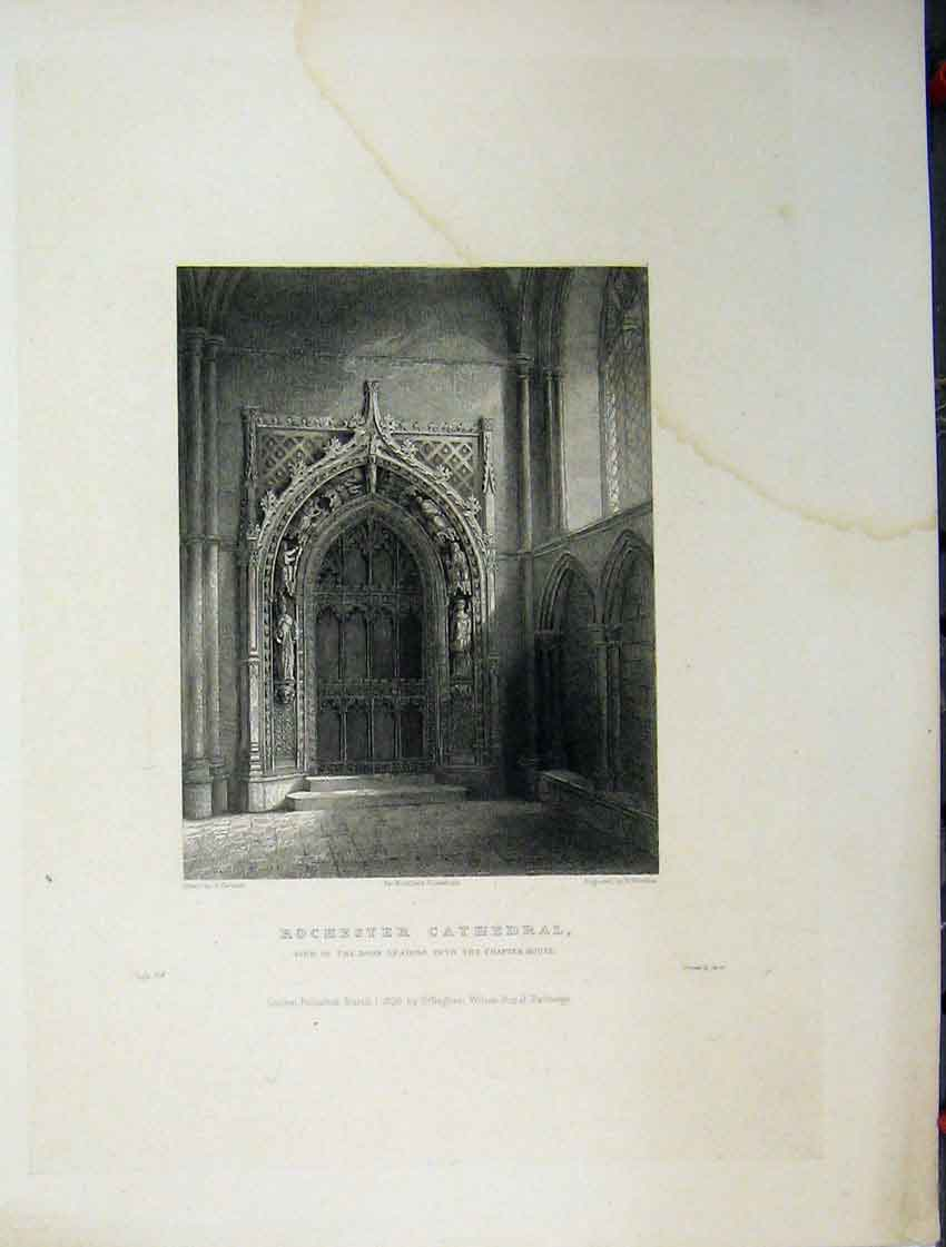 Print C1837 Rochester Cathedral View Door Chapter House 112A116 Old Original