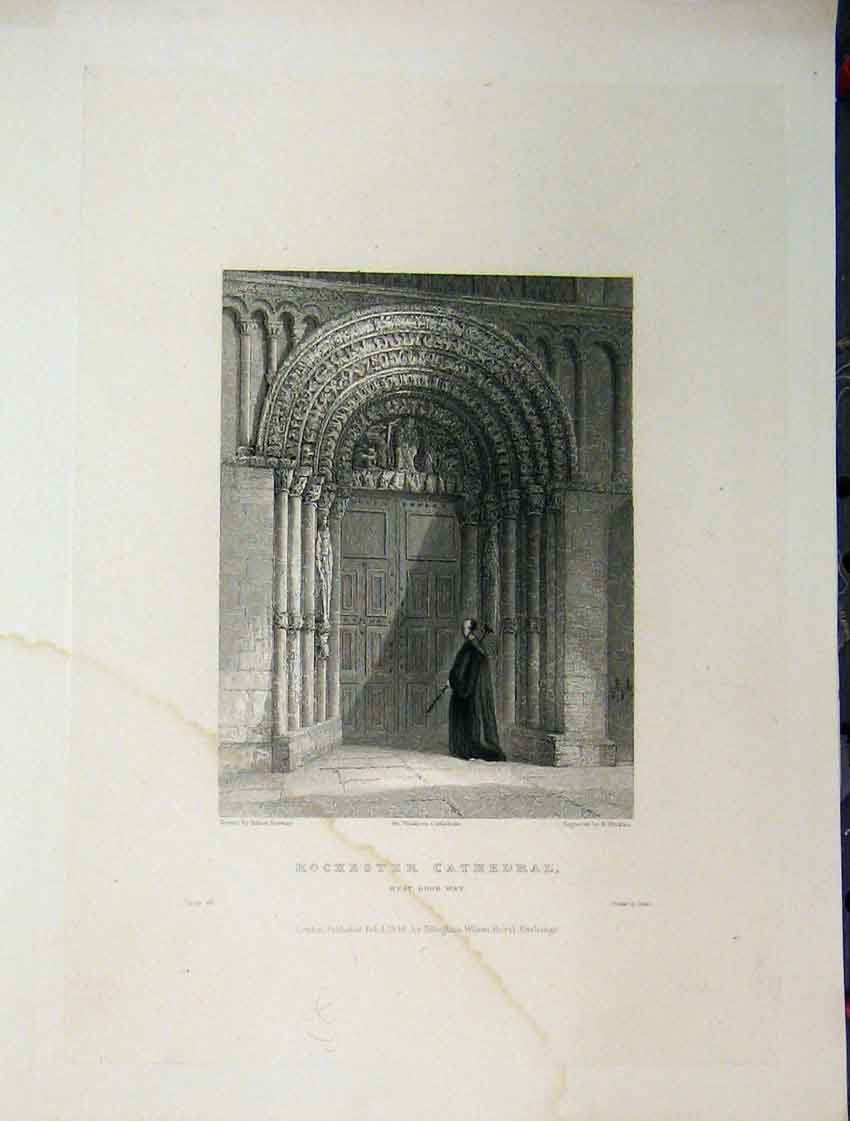 Print West Door Way Rochester Cathedral C1837 Winkles 113A116 Old Original