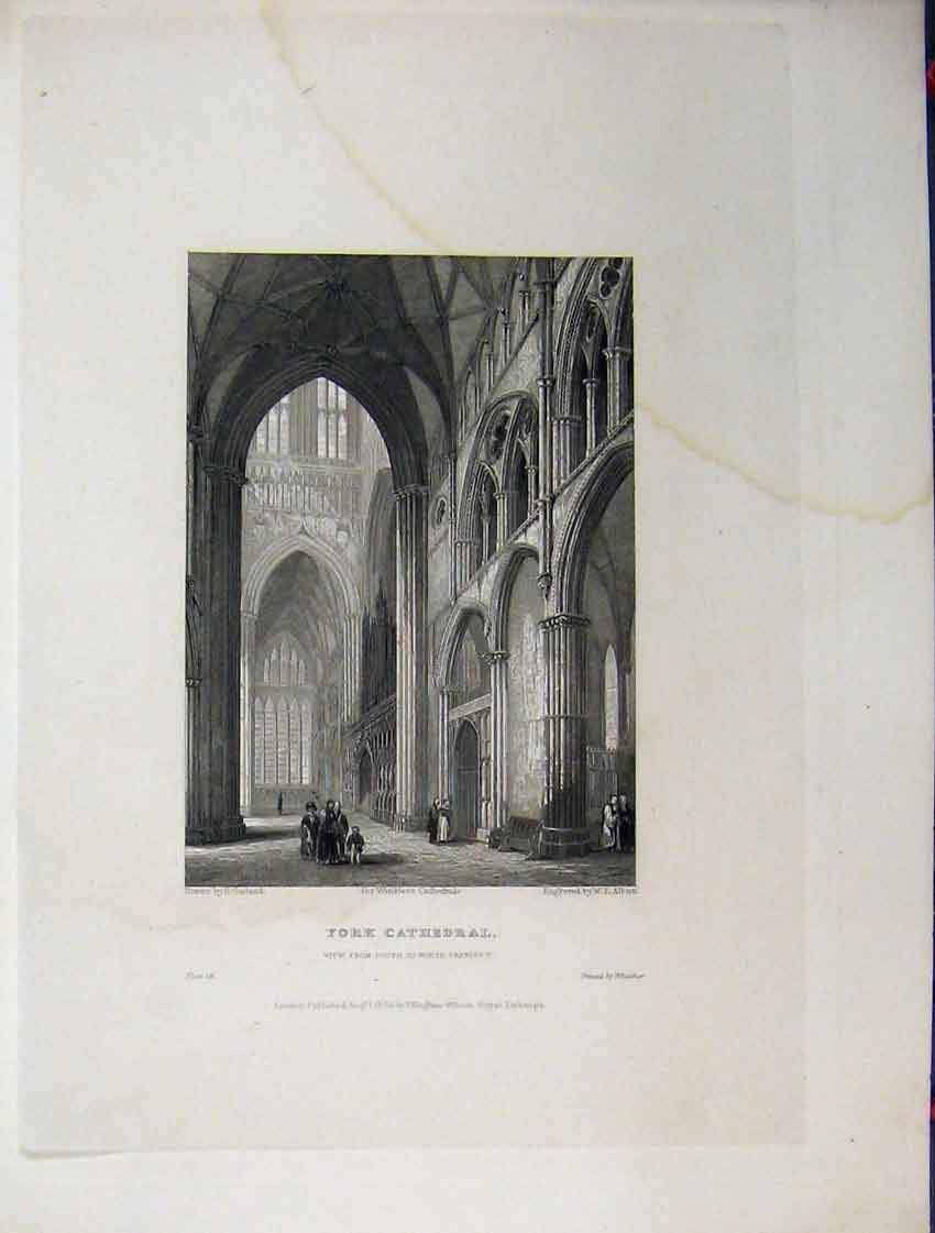 Print C1837 York Cathedral North Transept Winkles Engraving 115A116 Old Original