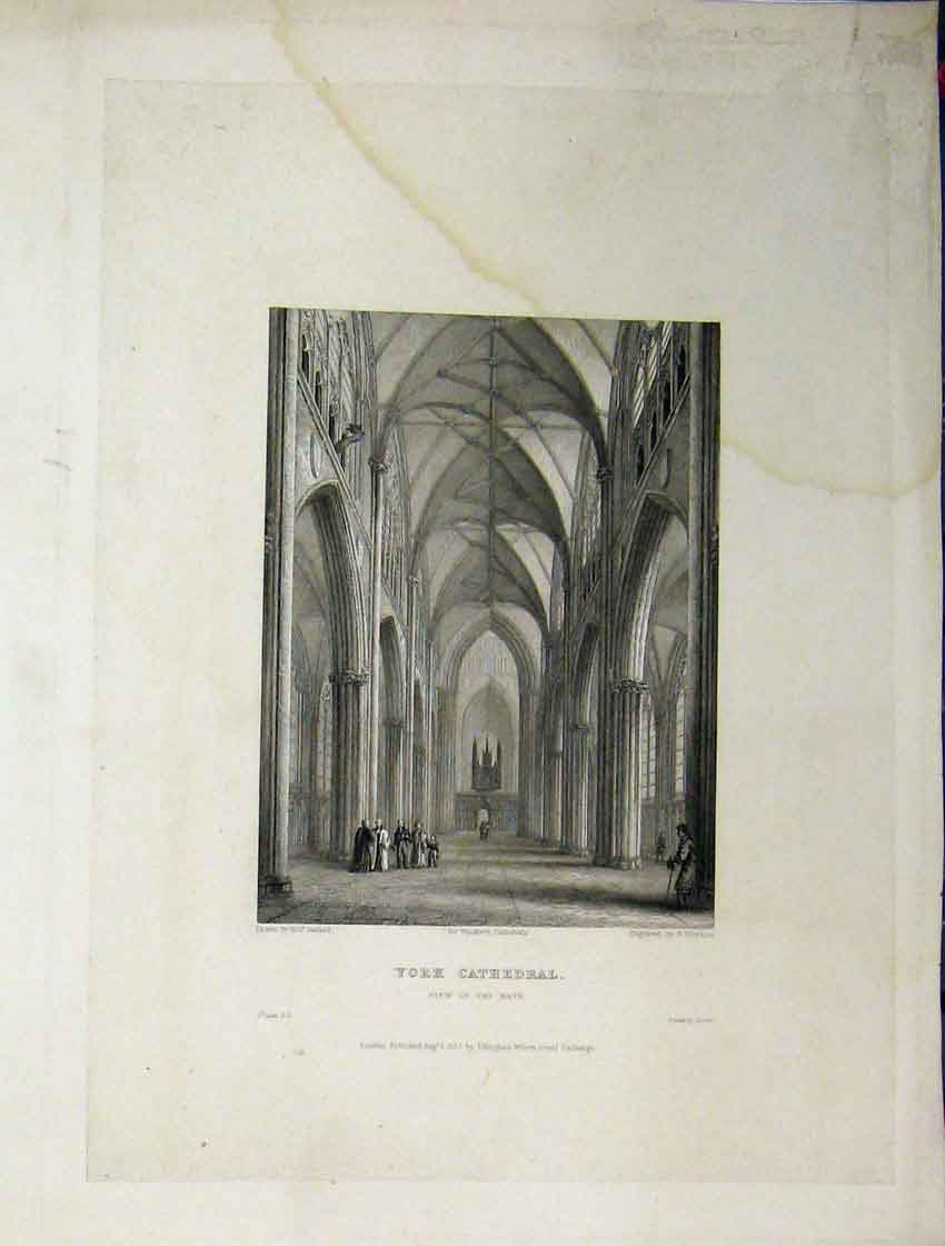 Print York Cathedral C1837 View Nave Winkles Engraving 116A116 Old Original