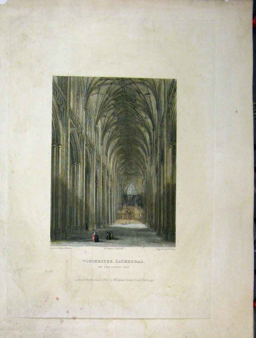 Print C1837 Winchester Cathedral Nave Winkles Engraving 117A116 Old Original