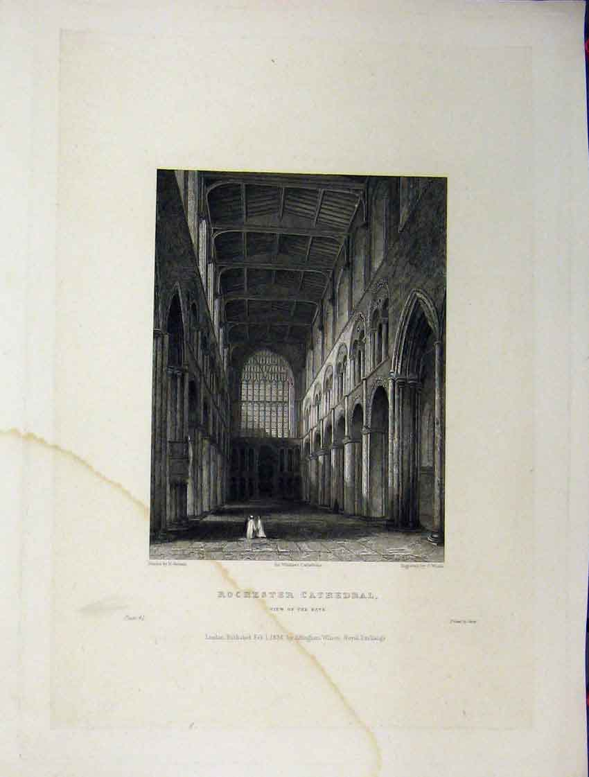 Print C1837 Rochester Cathedral View Nave Winkles Engraving 118A116 Old Original