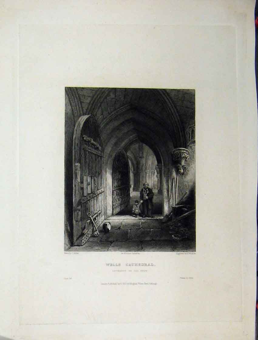 Print C1837 View Wells Cathedral Entrance Crypt Winkles 120A116 Old Original