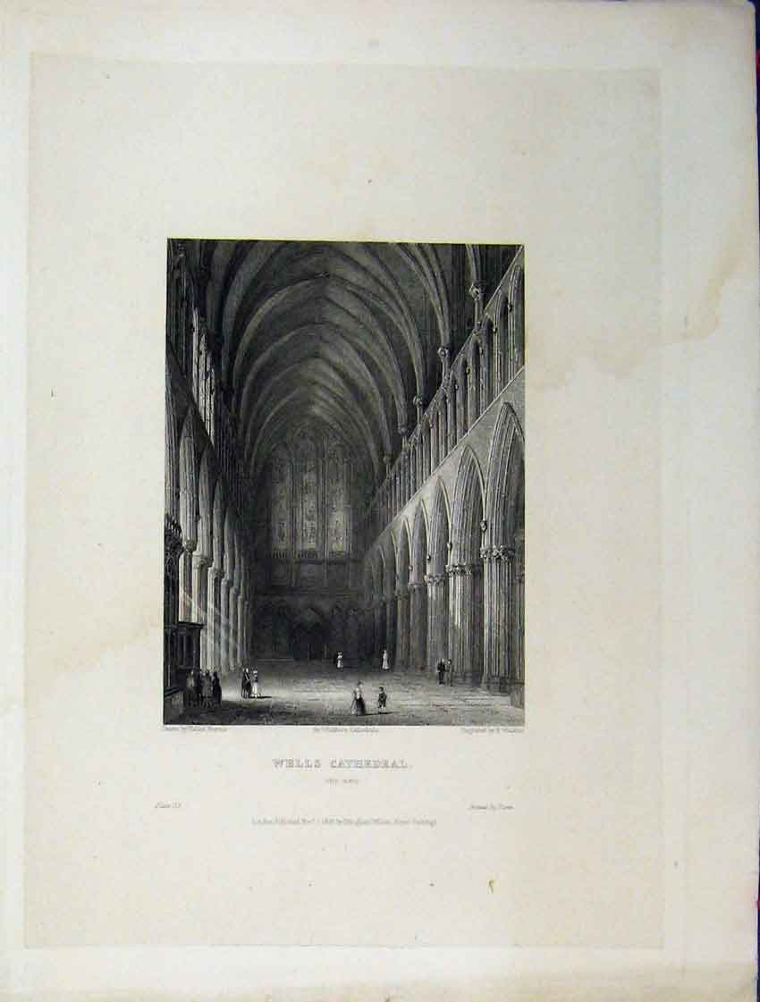 Print C1837 Wells Cathedral View Nave Winkles Engraving 122A116 Old Original