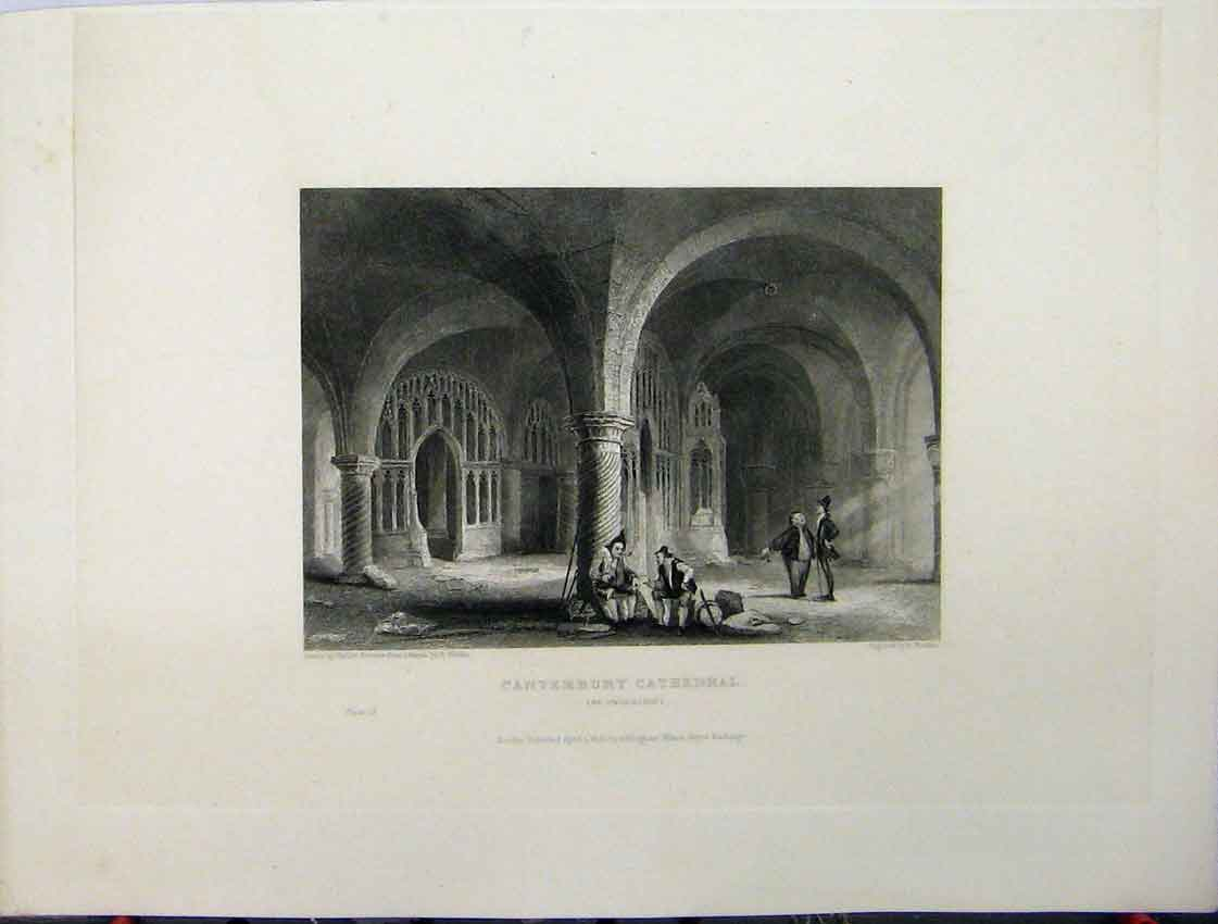 Print C1837 Canterbury Cathedral View Undercroft Winkles 124A116 Old Original