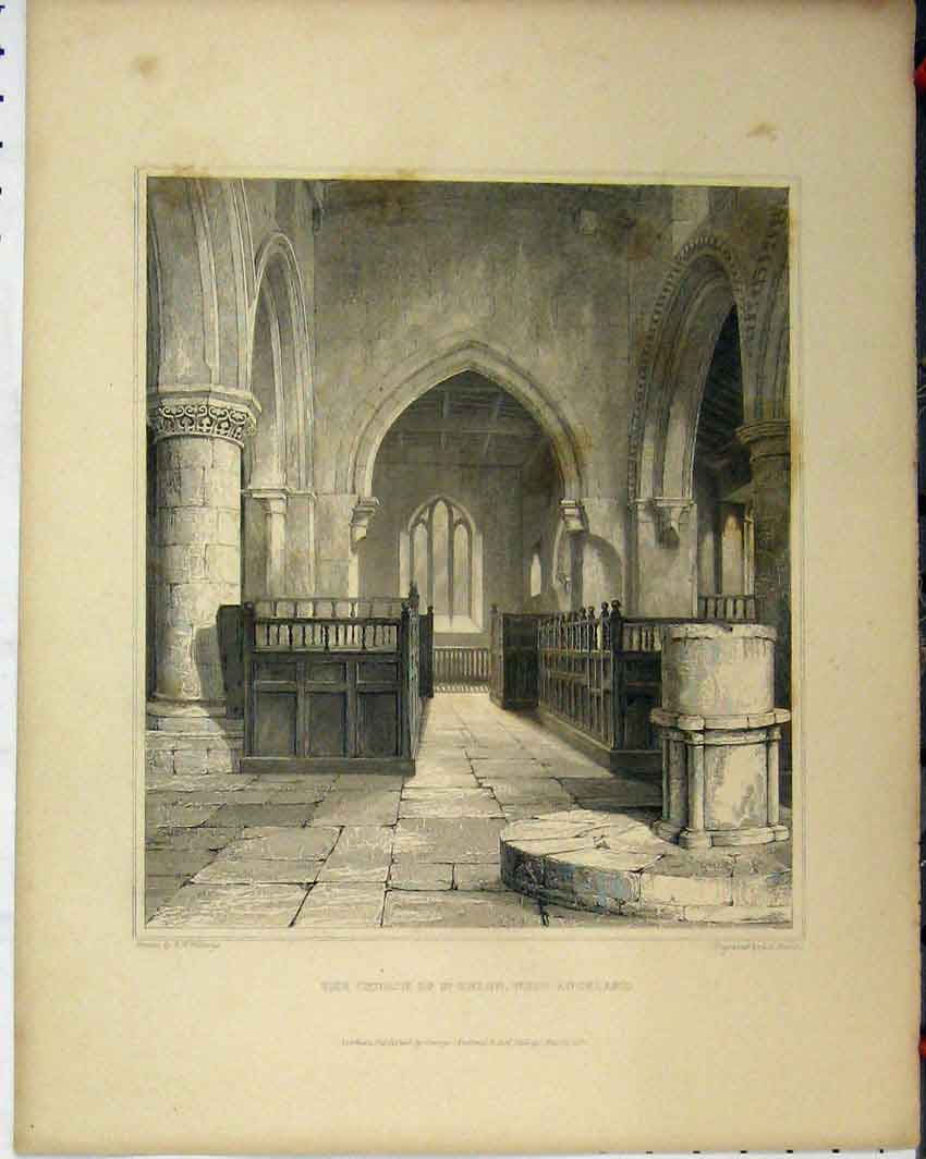 Print C1844 Sedilia Chancel Staindrop Church Engraving 110A117 Old Original