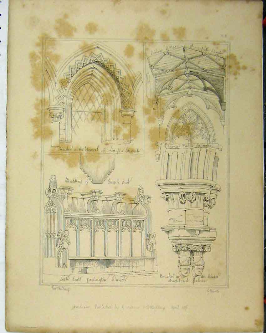 Print C1844 Carlington Church Window Chancel Stall Seats 116A117 Old Original