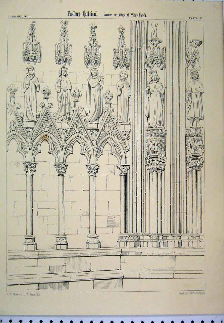 Print Germany C1870 Feeburg Cathedral Arcade Column Porch 107A117 Old Original