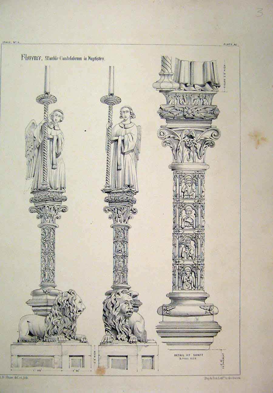 Print Italy C1870 Florence Marble Bapistry Lion Column 120A117 Old Original