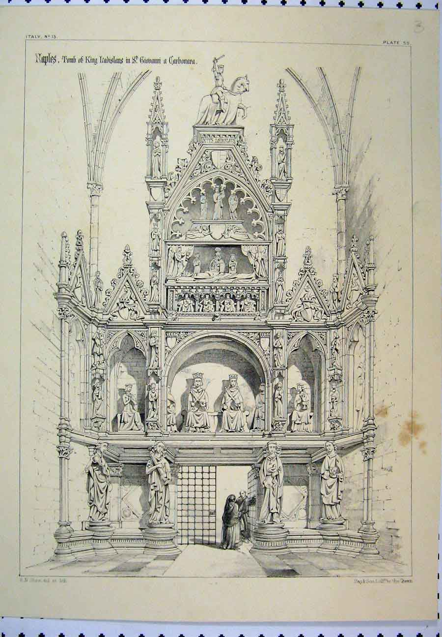 Print Italy C1870 Naples Tomb King Ladislaus Shaw 122A117 Old Original