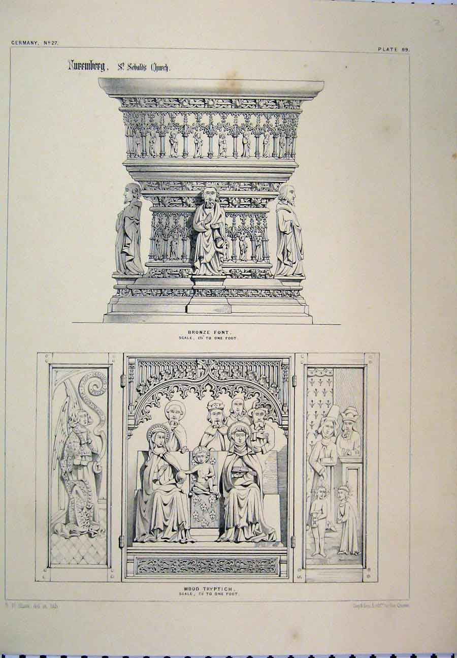 Print C1870 Germany Bronze Font Wood Tryptich Shaw 125A117 Old Original