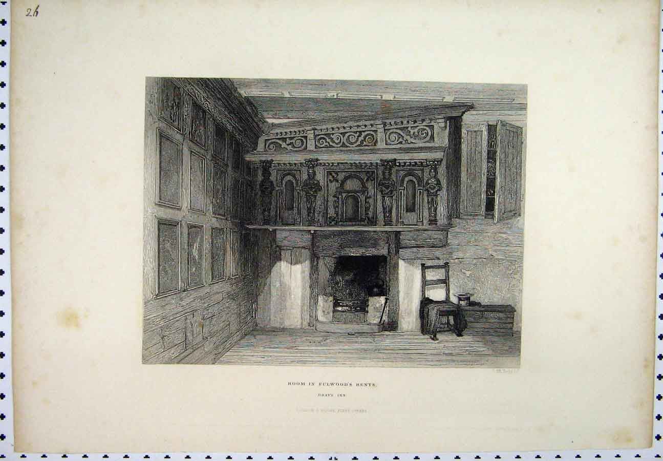 Print C1880 Scene Room Fulwood'S Rents Grays Inn 201A117 Old Original
