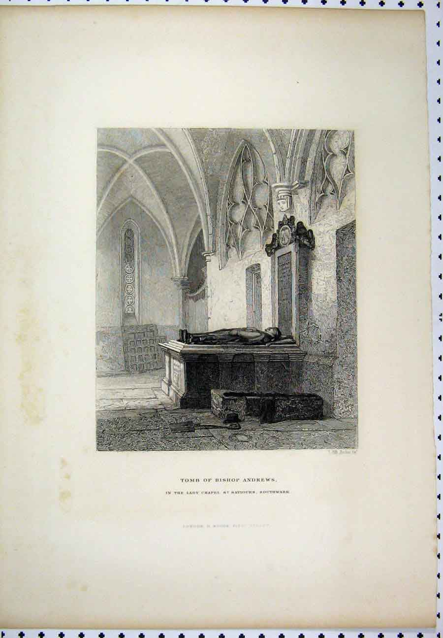Print C1880 Tomb Bishops Andrews Lady Chapel Southwark 214A117 Old Original