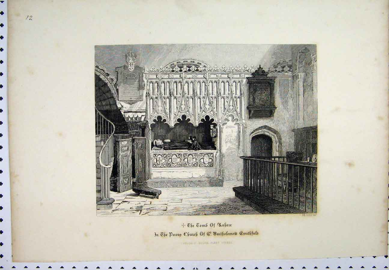 Print Altar Diana Foster Lane C1880 Architectural Drawing 215A117 Old Original