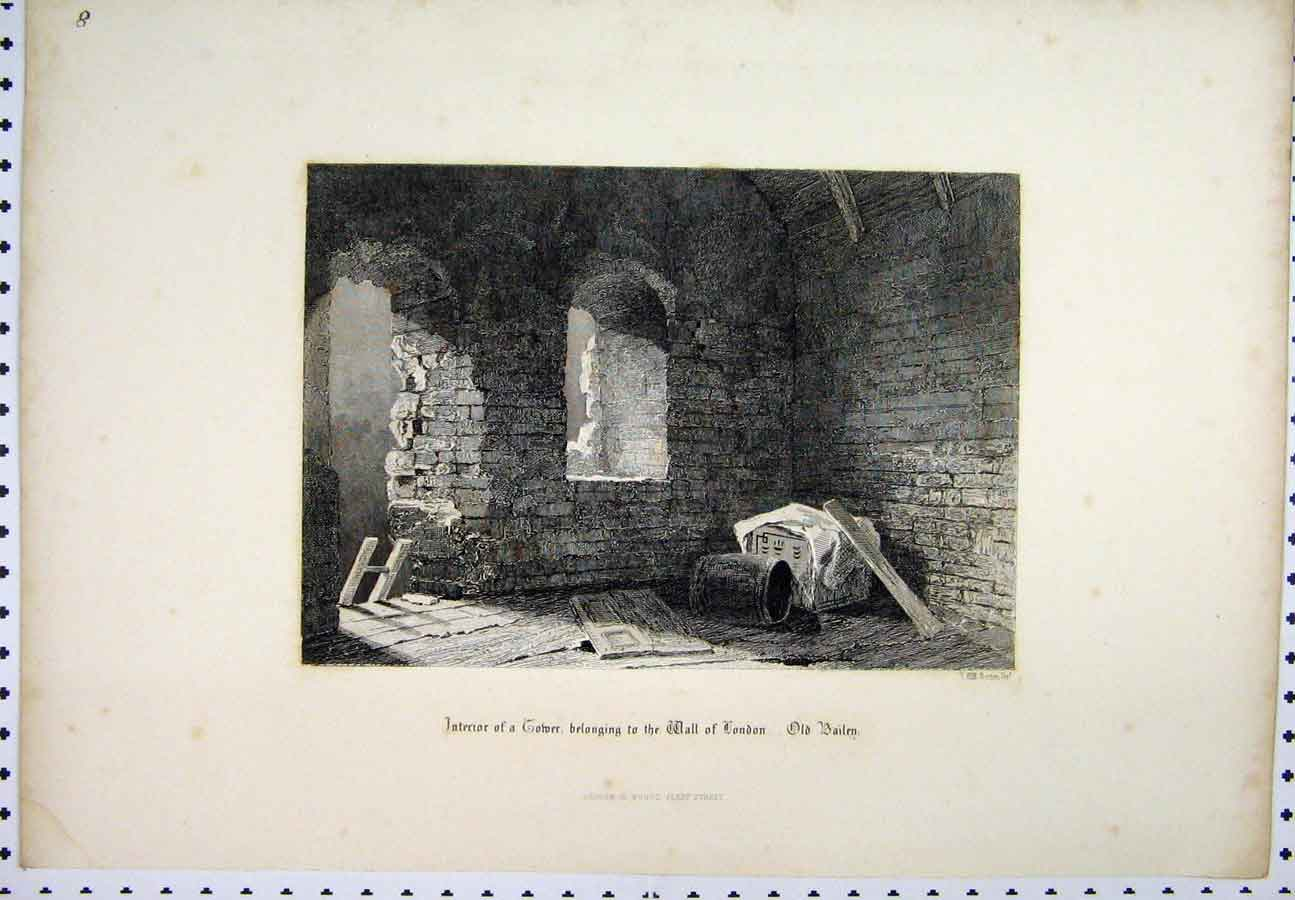 Print C1880 Interior Tower Wall London Bailey Ladder 220A117 Old Original