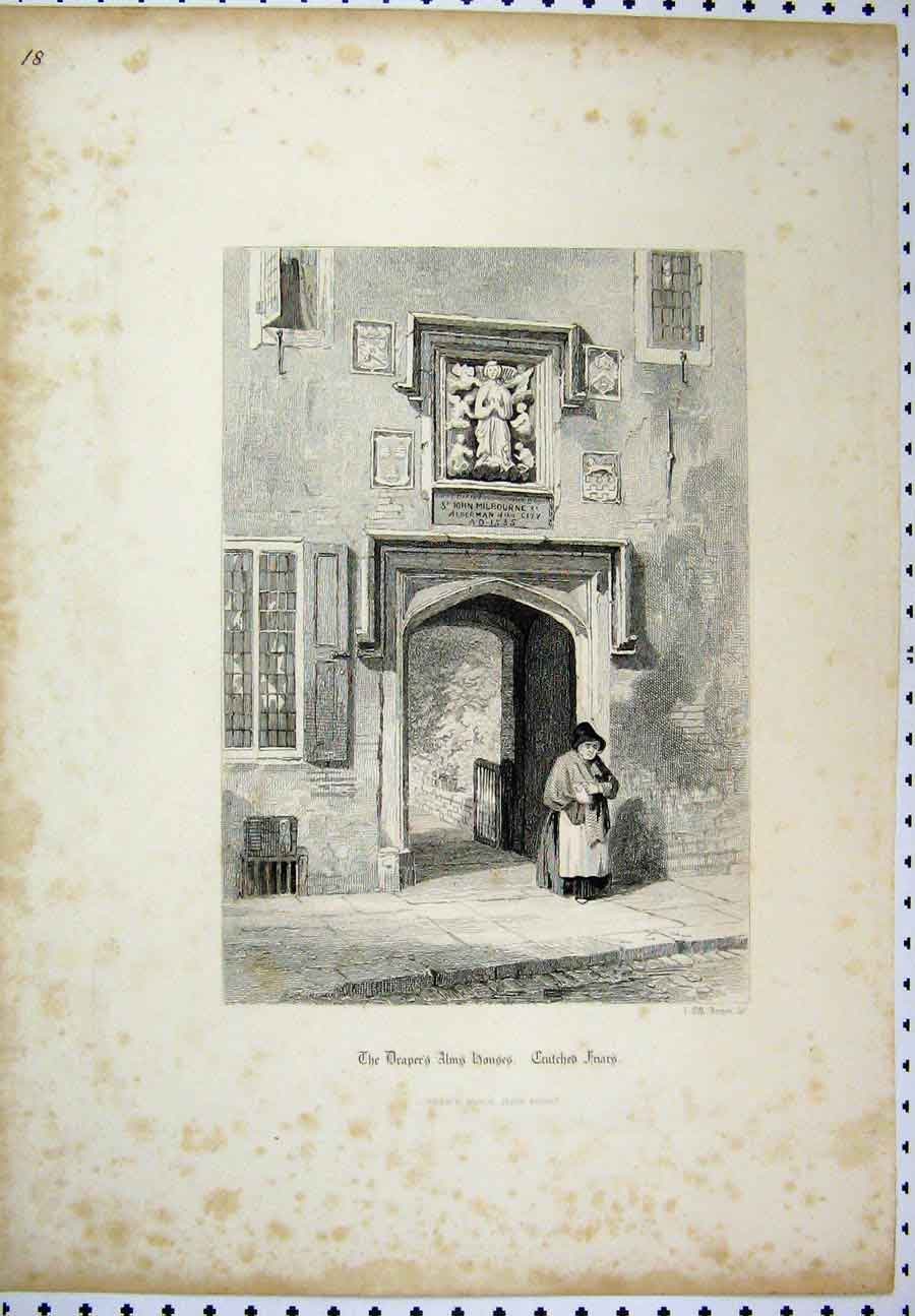 Print C1880 Drapers Alms Houses Crutched Friars London 223A117 Old Original
