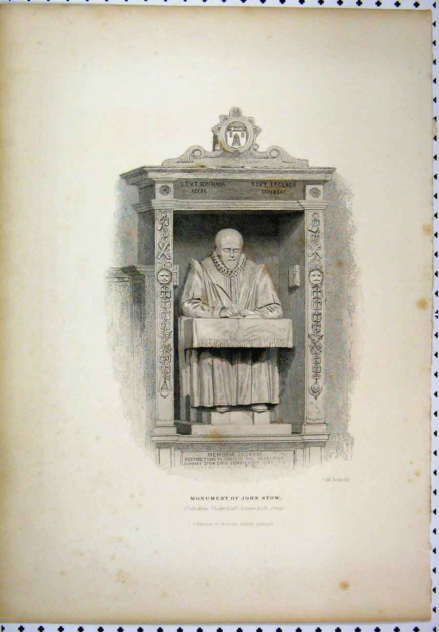 Print C1880 Monument John Stow Leaderhall Street 227A117 Old Original