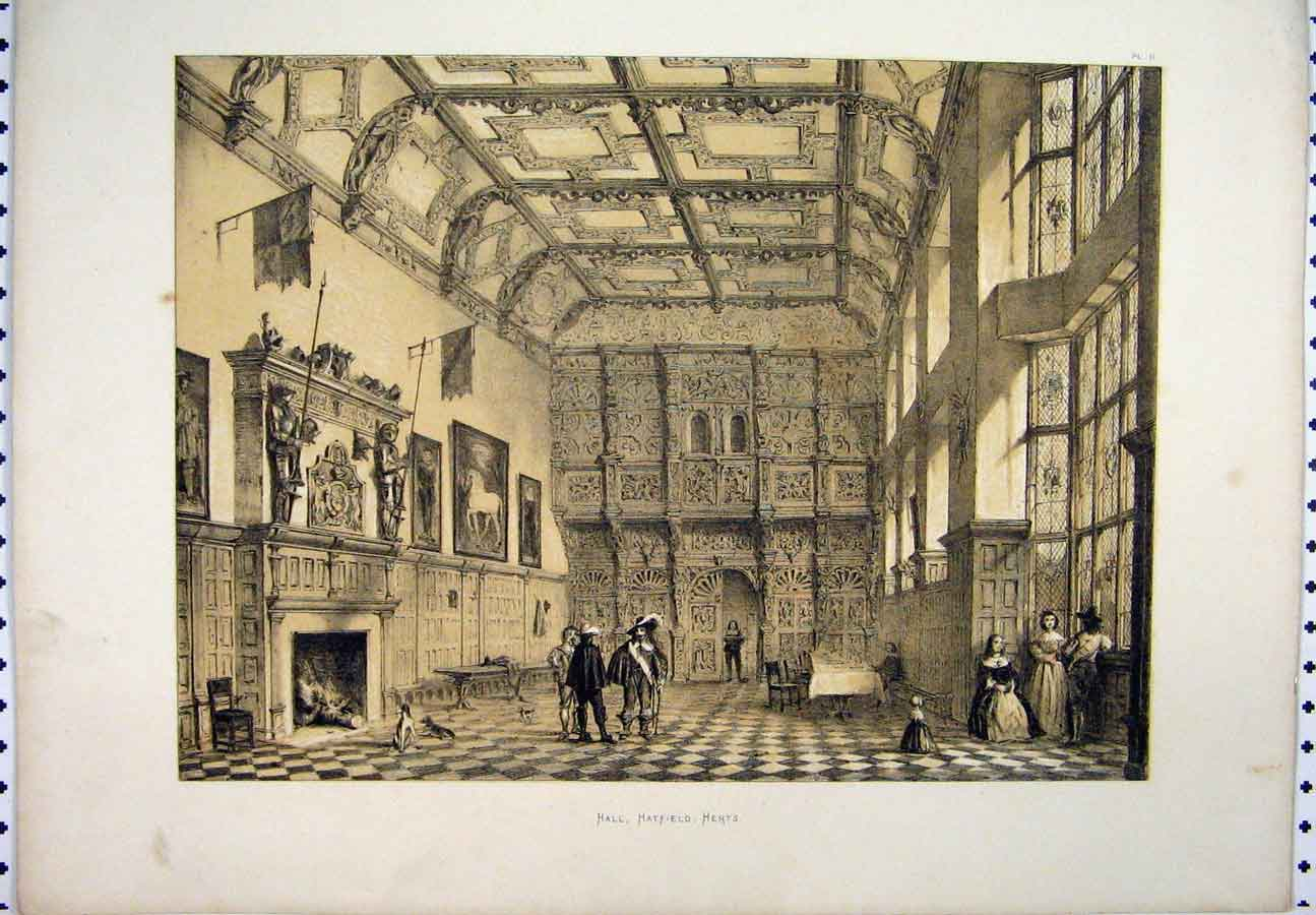 [Print C1800 Sepia Hall Scene Hatfield Herts People Dogs 246A117 Old Original]