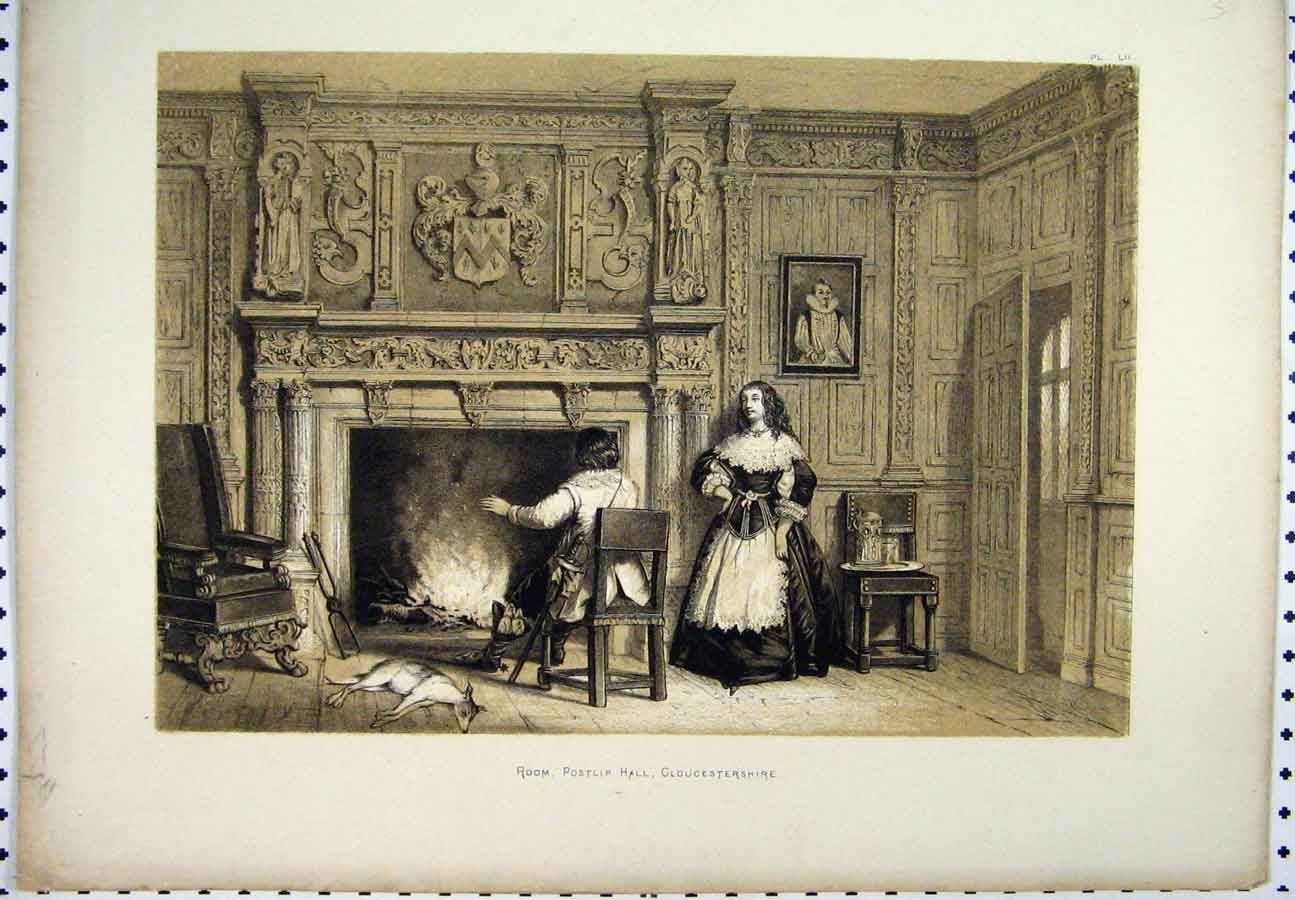 Print C1800 Scene Room Postlip Hall Gloucestershire Sepia 248A117 Old Original
