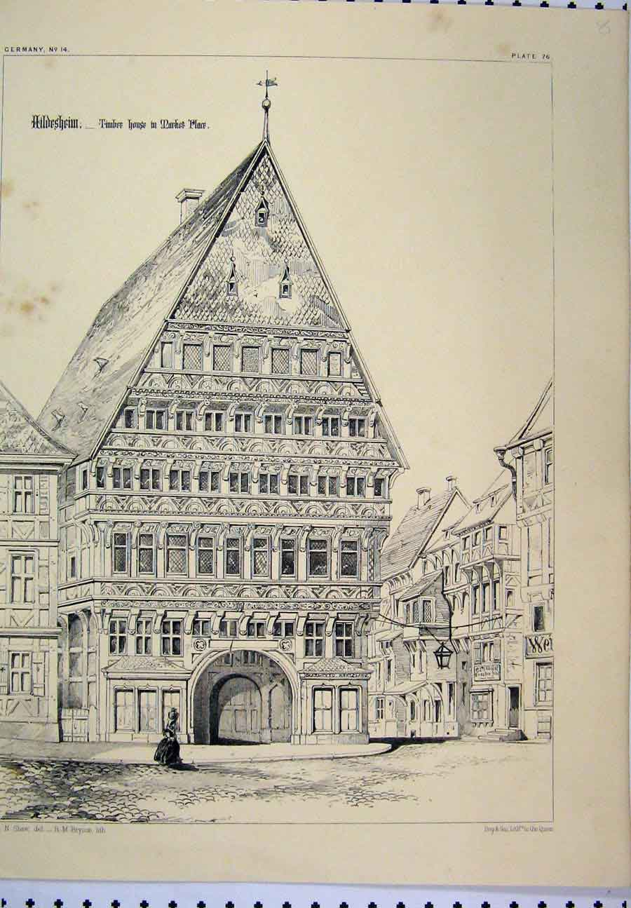 Print C1870 Germany Architectural Nave Sebalds Cathedral 308A117 Old Original