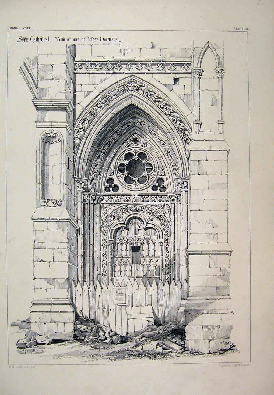 Print France Architectural C1870 Seez Cathedral Doorway 315A117 Old Original