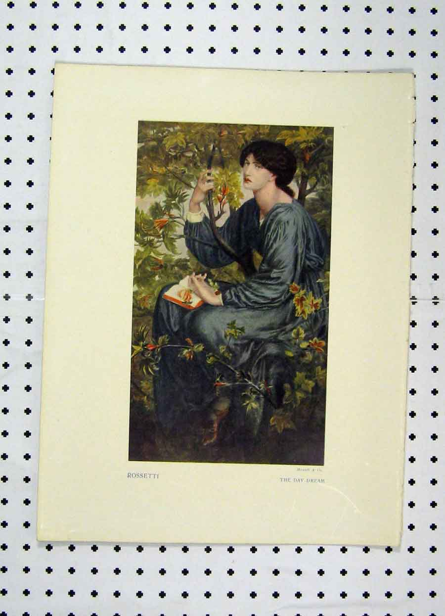 Print Colour Woman Sitting Flowers Rosstti Day Dream 102A119 Old Original