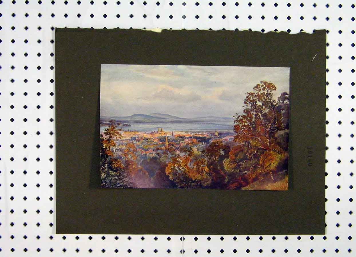 Print Colour View Town Country Scene Sea 120A119 Old Original