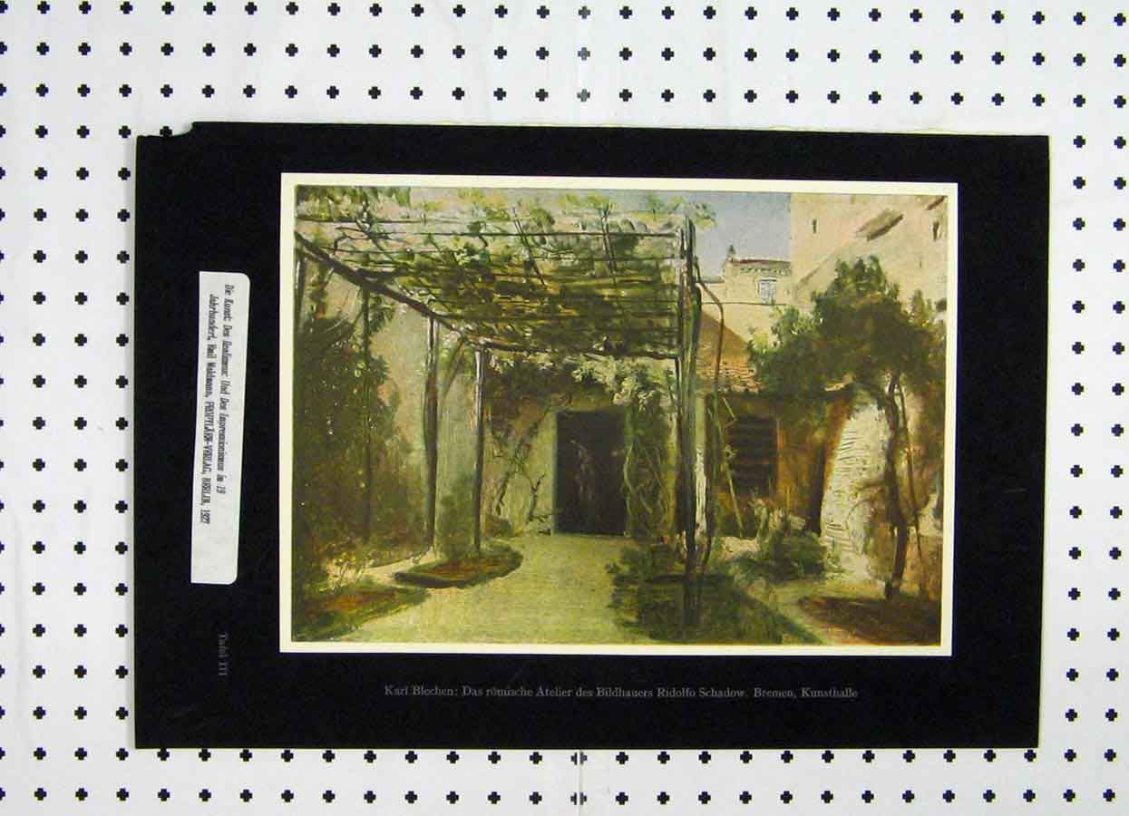 Print Germany Garden Archway Flowers 1927 Trees 158A119 Old Original