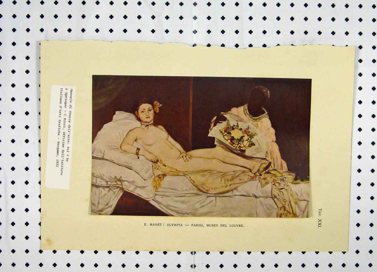 Print 1932 Colour Naked Woman Lying Man Flowers 166A119 Old Original