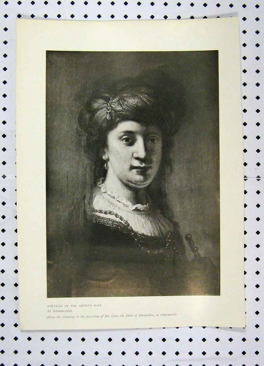 Print Portrait Artist Wife Rembrandt 1907 Chtsworth 175A119 Old Original